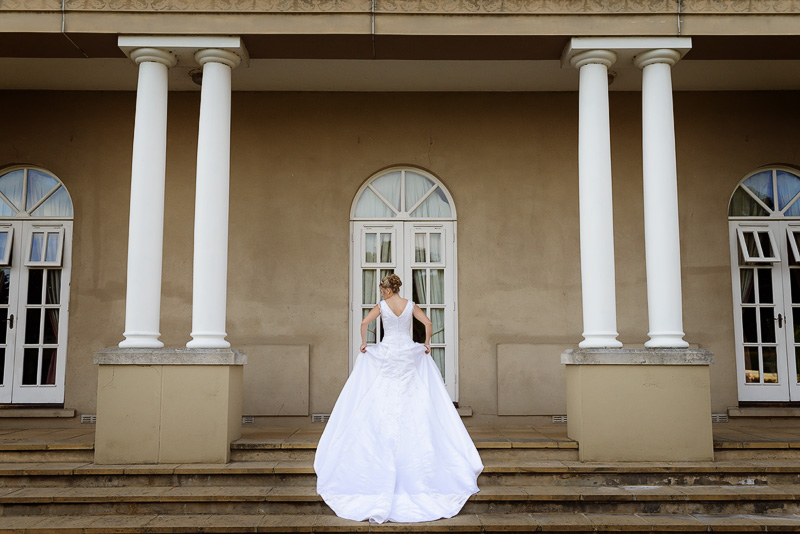 bride at down hall in beautiful dress
