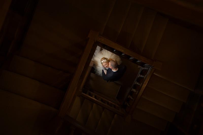 Parklands Hall wedding photography - wedding photos staircase