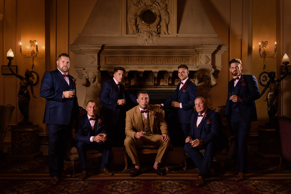 Groomsmen photo in the Lounge at Down Hall Hotel and Spa
