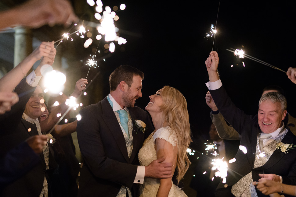 Down Hall Hotel and Spa Winter wedding sparklers