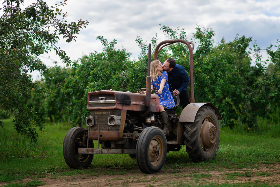 Engagement session with tractor